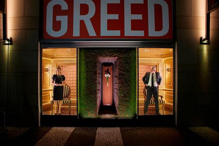 Mia Matthews and Gerald McCullouch in the Greed installation of 'Seven Deadly Sins.'