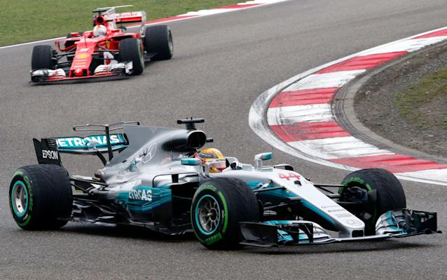 <span>Hamilton and Vettel at the start of the race - they haven't seen each other since</span> <span>Credit: AP </span>