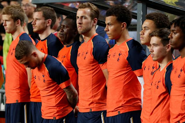 Football Soccer - Jockey Club Kitchee Centre Challenge Cup - Kitchee v Tottenham Hotspur - Hong Kong, China - 26/5/17 - Hotspur players observe a minute of silence to honor the victims of the Manchester terror attack. REUTERS/Bobby Yip