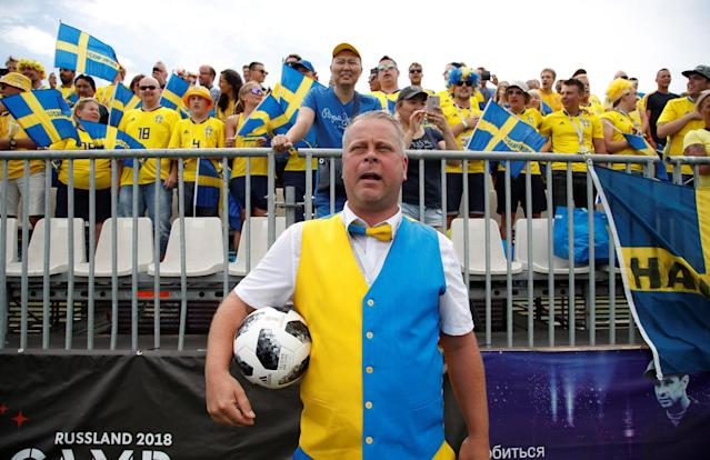 Soccer Football - World Cup - Germany Fans vs Sweden Fans - Sochi, Russia - June 23, 2018 Referee lines up before the match REUTERS/Francois Lenoir
