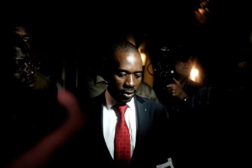Opposition leader Nelson Chamisa speaks to the press after Emmerson Mnangagwa is declared winner of the first post-Mugabe presidential elections
