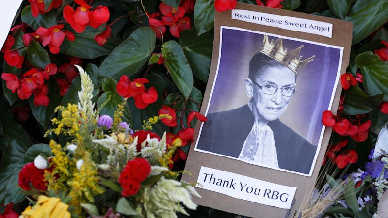 Flowers and notes are left outside of the U.S. Supreme Court to mourn the death of Supreme Court Justice Ruth Bader Ginsburg in Washington, United States on September 21, 2020. (Yasin Ozturk/Anadolu Agency via Getty Images)