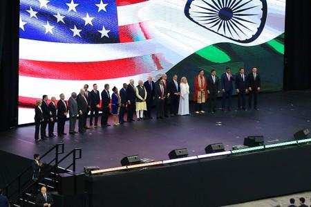"India's Prime Minister Narendra Modi stands with several United States dignitaries during a ""Howdy, Modi"" rally at NRG Stadium in Houston"