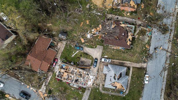 PHOTO: An aerial view of significant damage to homes in Greensboro, N.C., April 16, 2018. (Travis Long/The News and Observer via AP)