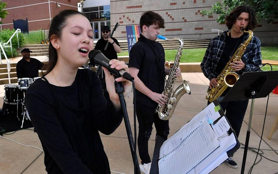 Adrianna Tervort sang vocals with a group of students and instructors from the Kansas City Jazz Academy performing during Make Music Kansas City, a celebration of music event at Parade Park on Monday, June 21, in the Historic 18th and Vine District. Over 100 performers participated in Kansas City's debut in the celebration of music events, known as Make Music Day, which takes place in more than 1,000 cities in 120 countries on the same day. The free musical events were held throughout Kansas City. The event originally launched in 1982 in France as the Fête de la Musique.