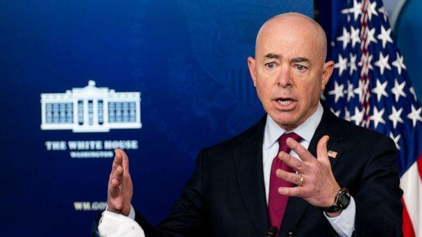 PHOTO: Homeland Security Secretary Alejandro Mayorkas speaks during a press briefing at the White House, March 1, 2021. (Andrew Harnik/AP)