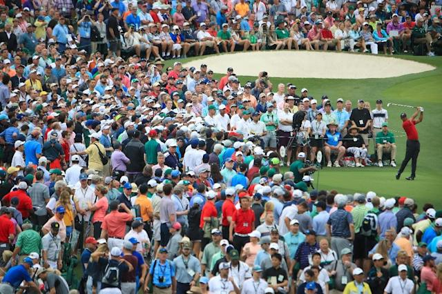 Moving the needle: A throng of fans watches Tiger Woods on the way to a 15th major title at the Masters (AFP Photo/Andrew Redington)