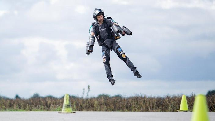 A man wearing a Gravity Industries jetpack
