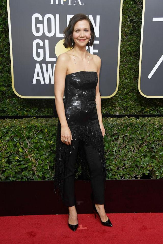 <p>Maggie Gyllenhaal, nominated as Best Actress in a TV Drama for <em>The Deuce</em>, attends the 75th Annual Golden Globe Awards at the Beverly Hilton Hotel in Beverly Hills, Calif., on Jan. 7, 2018. (Photo: Steve Granitz/WireImag </p>