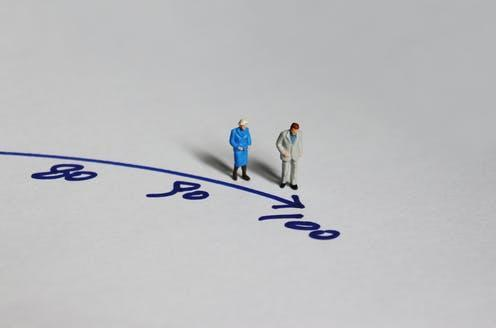 """<span class=""""caption"""">How long could a human really live?</span> <span class=""""attribution""""><a class=""""link rapid-noclick-resp"""" href=""""https://www.shutterstock.com/image-photo/old-couple-miniature-standing-before-number-1199942233"""" rel=""""nofollow noopener"""" target=""""_blank"""" data-ylk=""""slk:Hyejin Kang/ Shutterstock"""">Hyejin Kang/ Shutterstock</a></span>"""