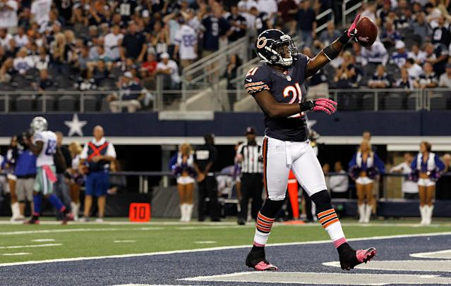 ARLINGTON, TX - OCTOBER 01: Major Wright #21 of the Chicago Bears celebrates after intercepting the ball against the Dallas Cowboys at Cowboys Stadium on October 1, 2012 in Arlington, Texas. (Photo by Tom Pennington/Getty Images)