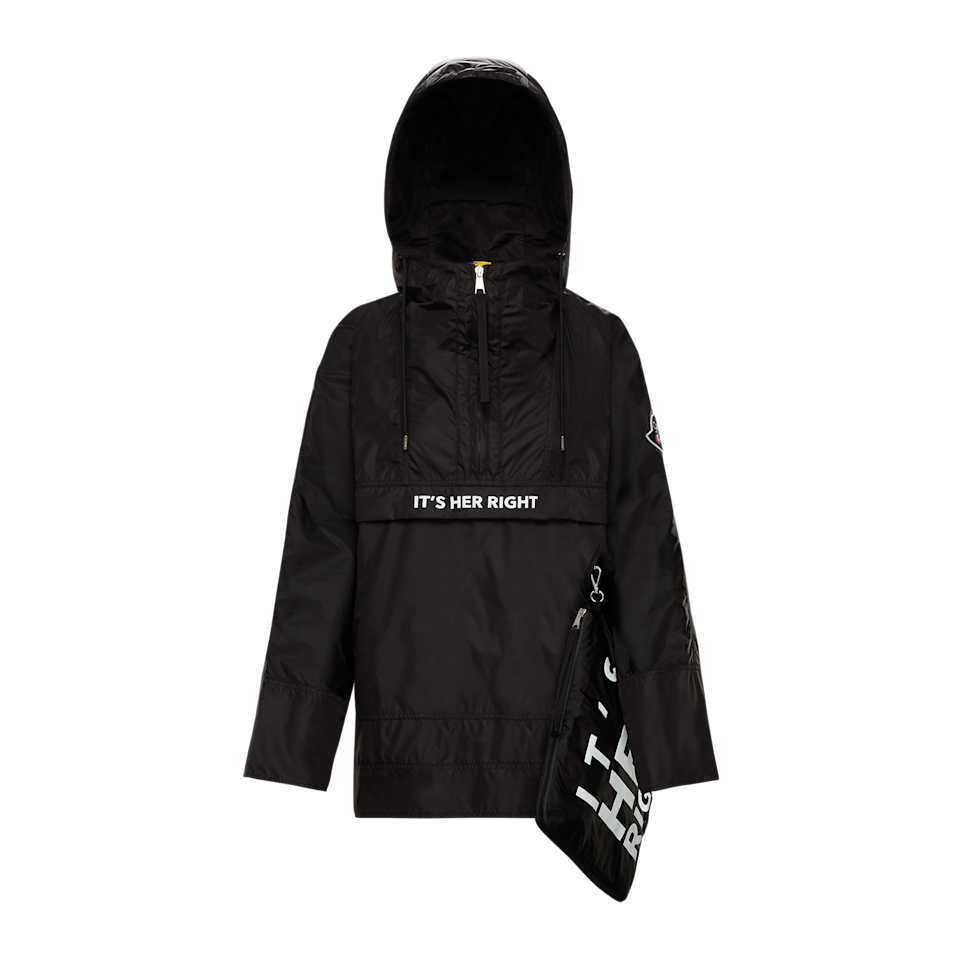 """<p><strong>Moncler</strong></p><p>moncler.com</p><p><strong>$814.58</strong></p><p><a href=""""https://www.moncler.com/gb/us/"""" rel=""""nofollow noopener"""" target=""""_blank"""" data-ylk=""""slk:SHOP IT"""" class=""""link rapid-noclick-resp"""">SHOP IT</a></p><p>2 Moncler 1952 teamed up with Girl Up to create a limited-edition foldable black anorak featuring both 2 Moncler 1952 and Girl Up's logos. The jacket reflects designer Veronica Leoni's belief """"that every girl is entitled to forge her own path in society, without barriers standing in her way."""" As part of the partnership, Girl Up received a donation and t-shirts from 2 Moncler 1952 featuring the """"IT'S HER RIGHT"""" slogan. The tees will be worn by Girl Up Teen Advisors to raise awareness and celebrate girls who stand up, speak up, and rise up to support the movement in advancing girls' skills, rights, and opportunities to be leaders. Note: this jacket is only available in Moncler flagship boutiques worldwide. </p>"""