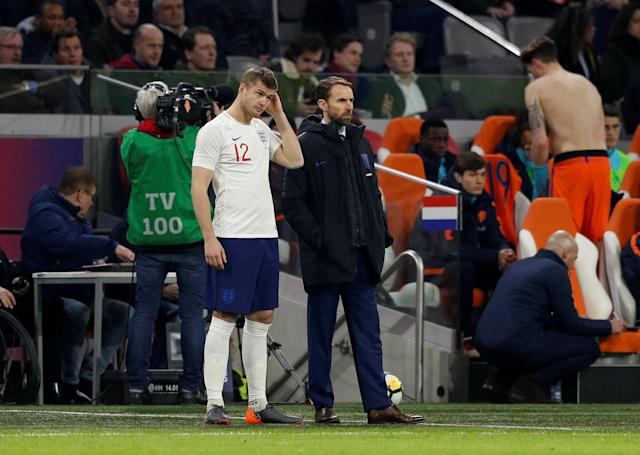 Soccer Football - International Friendly - Netherlands vs England - Johan Cruijff Arena, Amsterdam, Netherlands - March 23, 2018 England's Eric Dier and England manager Gareth Southgate Action Images via Reuters/John Sibley