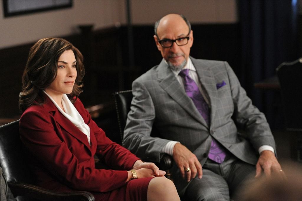 "Alicia (Julianna Margulies) speaks with Burl Preston (F. Murray Abraham) who represents a television network where a comedienne got on trouble for televised indecency in ""Anatomy of a Joke,"" the seventh episode of ""The Good Wife"" Season 4."