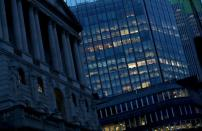 FILE PHOTO: Empty offices next to Bank of England are seen as the spread of the coronavirus disease (COVID-19) continues, in London
