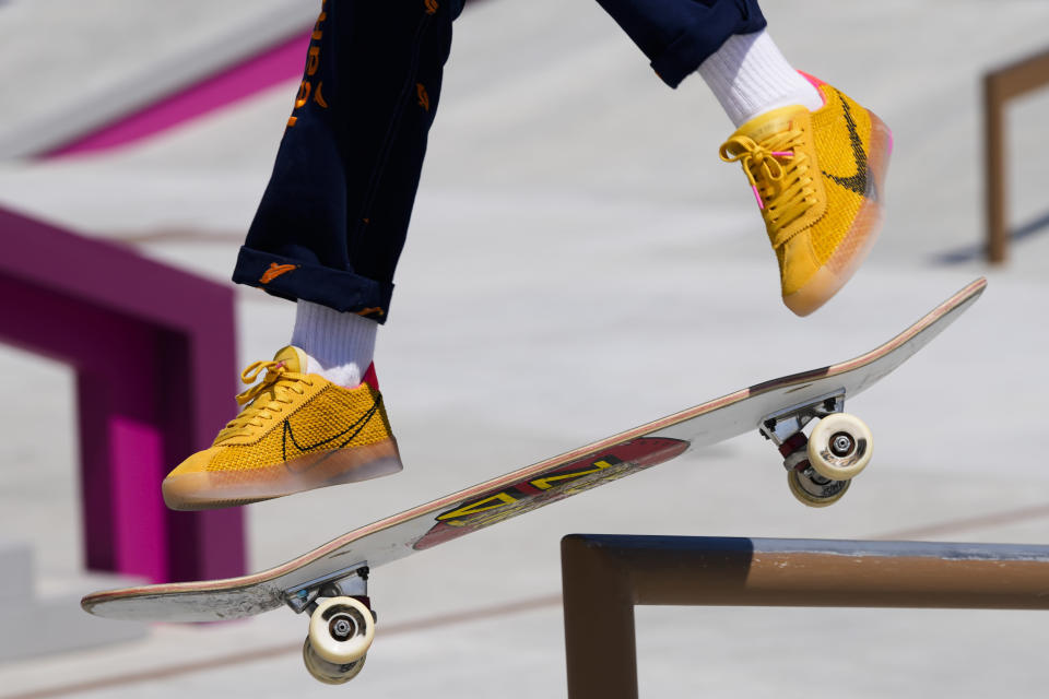 Keet Oldenbeuving of the Netherlands trains during a street skateboarding practice session at the 2020 Summer Olympics, Friday, July 23, 2021, in Tokyo, Japan. (AP Photo/Markus Schreiber)
