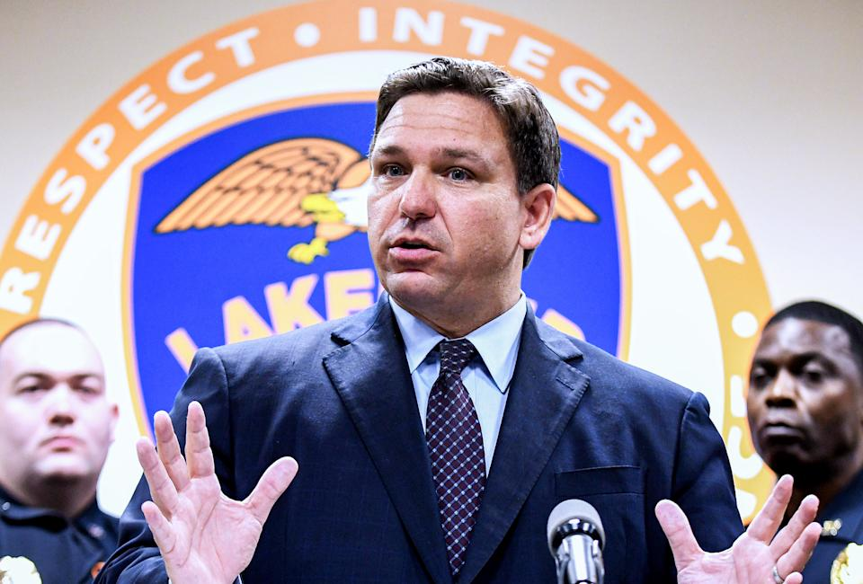 Florida Governor Ron DeSantis speaks at a press conference at the Lakeland, Florida Police Department to announce a new proposal that would provide $5,000 signing bonuses to those who sign on to be law enforcement officers from within the state of Florida, and those who come from out-of-state.  (Paul Hennessy/SOPA Images/LightRocket via Getty Images)
