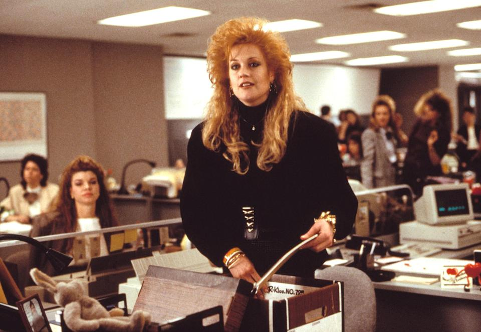 """<p>If you're ever in need of a little career inspiration, watch <em>Working Girl.</em> Tess McGill's (Melanie Griffith) rise from secretary to executive is the stuff dreams are made of—and her big hair and shoulder pads are incredible too.</p> <p><em>Available to rent on</em> <a href=""""https://www.amazon.com/Working-Girl-Melanie-Griffith/dp/B000SVZIH6"""" rel=""""nofollow noopener"""" target=""""_blank"""" data-ylk=""""slk:Amazon Prime Video"""" class=""""link rapid-noclick-resp""""><em>Amazon Prime Video</em></a><em>.</em></p>"""