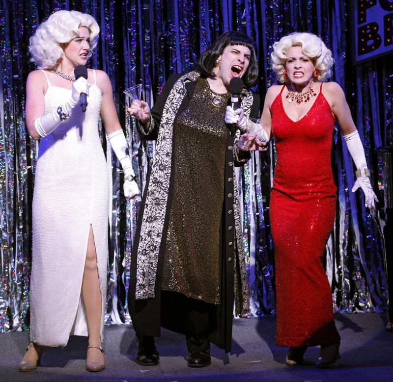 "This publicity photo released by Glenna Freedman Public Relations shows, from left, Natalie Charle Ellis, Marcus Stevens and Jenny Lee Stern, in a scene from Gerard Alessandrini's ""Forbidden Broadway: Alive & Kicking""  in New York. A producer of the off-Broadway musical revue that hilariously tweaks shows and stars said Wednesday, Oct. 17, 2012, that its run will be extended through April 28. It opened Sept. 6 at the 47th Street Theatre after a three-year absence from New York. (AP Photo/Glenna Freedman PR, Carol Rosegg)"