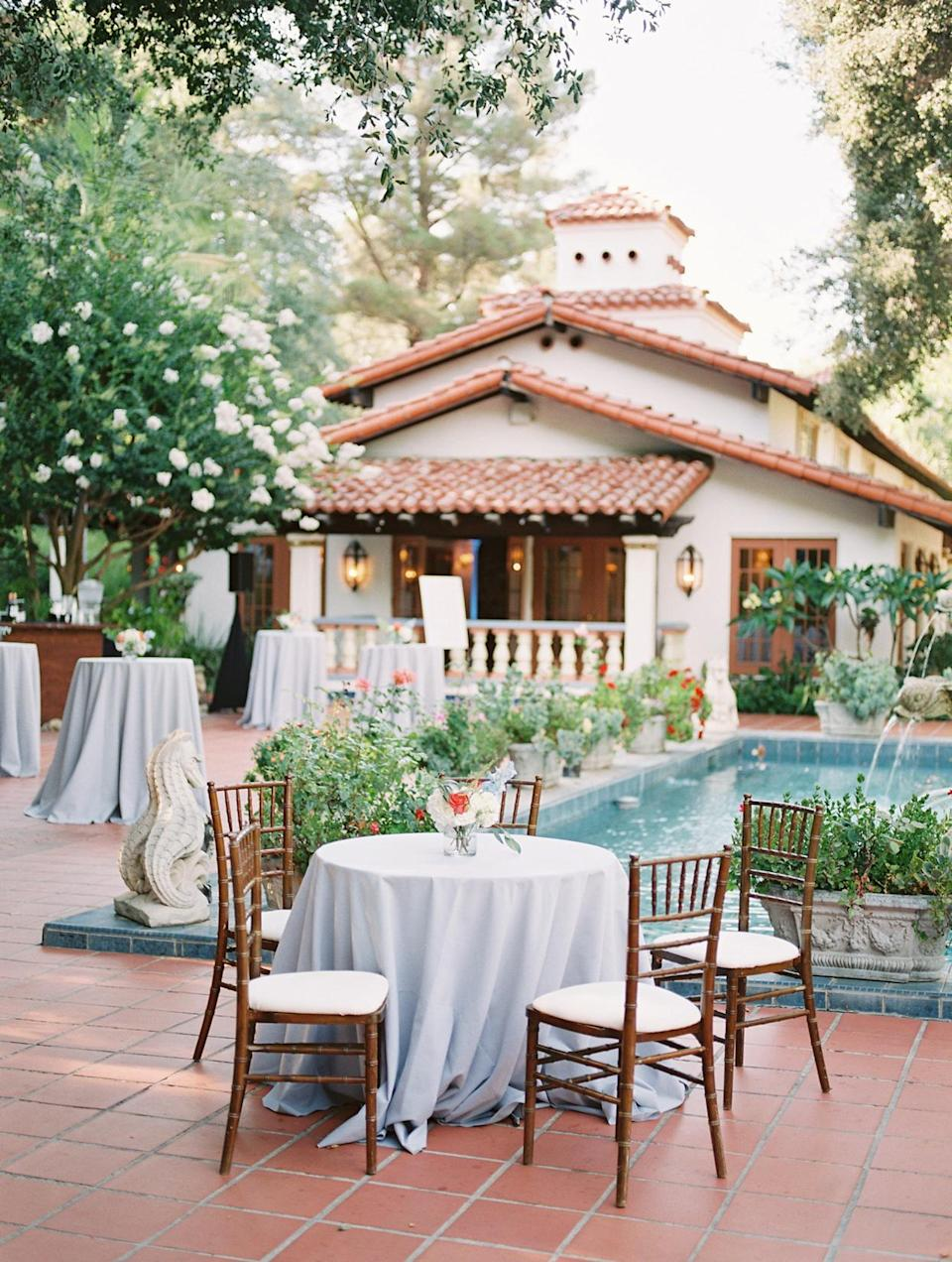 <p>Meanwhile, guests noshed on plenty of passed appetizers—including Thai chicken satay, short rib Wellington, corn arepa, and carne asada—during the cocktail hour, which unfolded around the property's pool.</p>