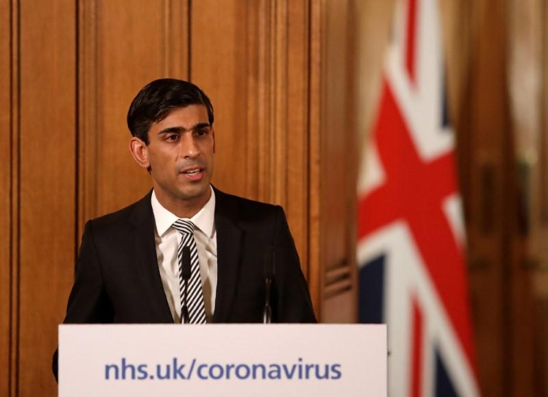 Chancellor of the Exchequer Rishi Sunak speaks during a news conference on the ongoing situation with the coronavirus disease (COVID-19) in London