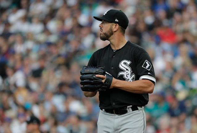 Chicago White Sox starting pitcher James Shields looks toward a baserunner during a baseball game against the Seattle Mariners, Friday, July 20, 2018, in Seattle. (AP Photo/Ted S. Warren)