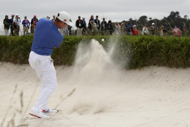 Gary Woodland hits out of the bunker on the sixth hole during the third round of the U.S. Open Championship golf tournament Saturday, June 15, 2019, in Pebble Beach, Calif. (AP Photo/Matt York)