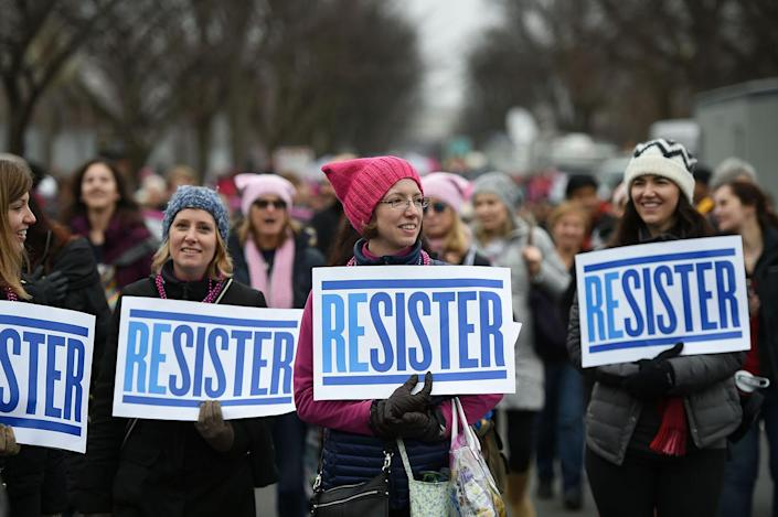 <p>Protesters march in Washington, DC, during the Womens March on January 21, 2017. (ROBYN BECK/AFP/Getty Images) </p>