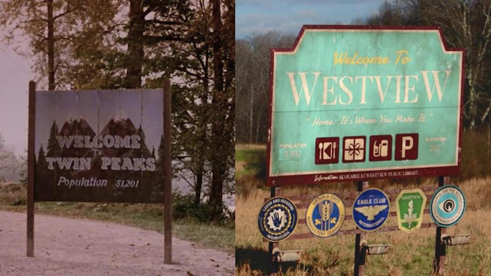 The Welcome signs to Twin Peaks and Westview, the small town from WandaVision.