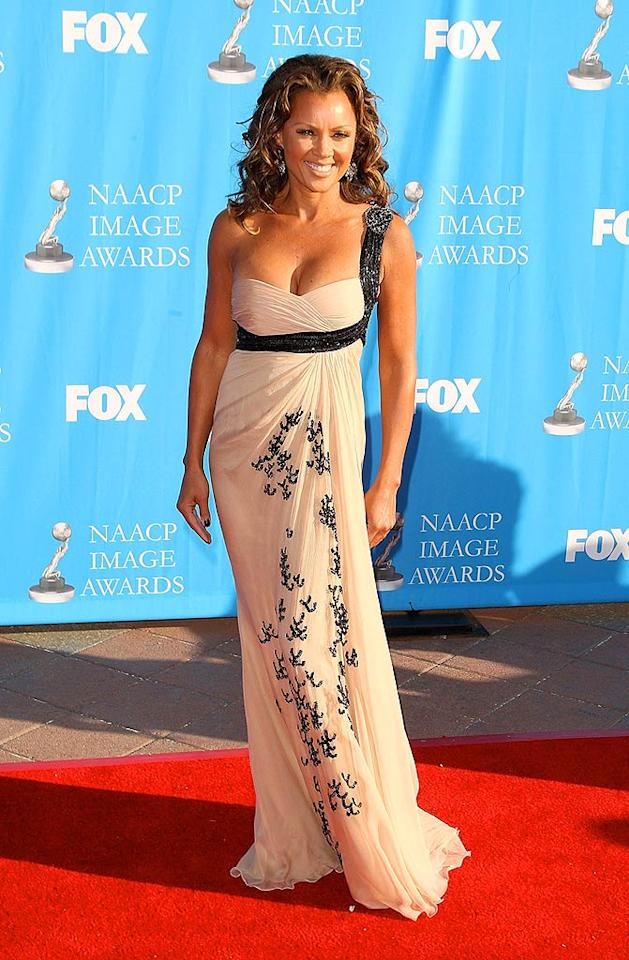 "Vanessa Williams arrives at the 39th NAACP Image Awards in a gorgeous champagne and black Zuhair Murad gown. The ""Ugly Betty"" actress took home the award for supporting actress in a comedy series. Jason Merritt/<a href=""http://www.filmmagic.com/"" target=""new"">FilmMagic.com</a> - February 14, 2008"