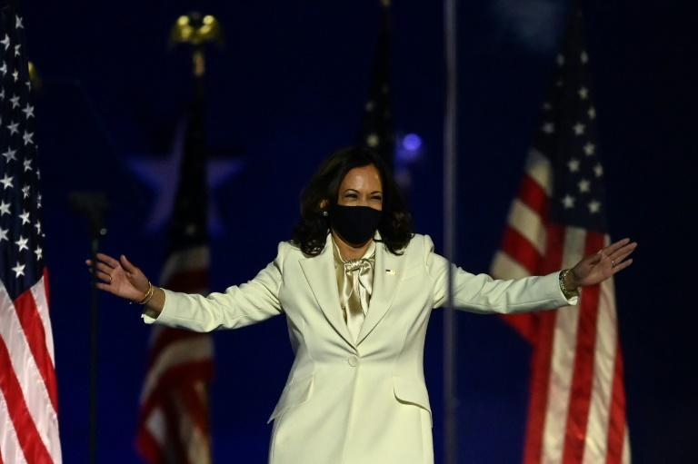 Vice President-elect Kamala Harris speaks at a victory rally with President-elect Joe Biden in Wilmington, Delaware