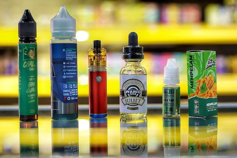 Vape users have a choice of different brands of liquids in different flavours.