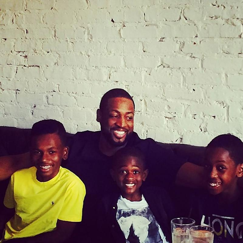 Dwyane Wade with nephew Dahveon (L) and kids Zion and Zaire | Dwyane Wade/Instagram