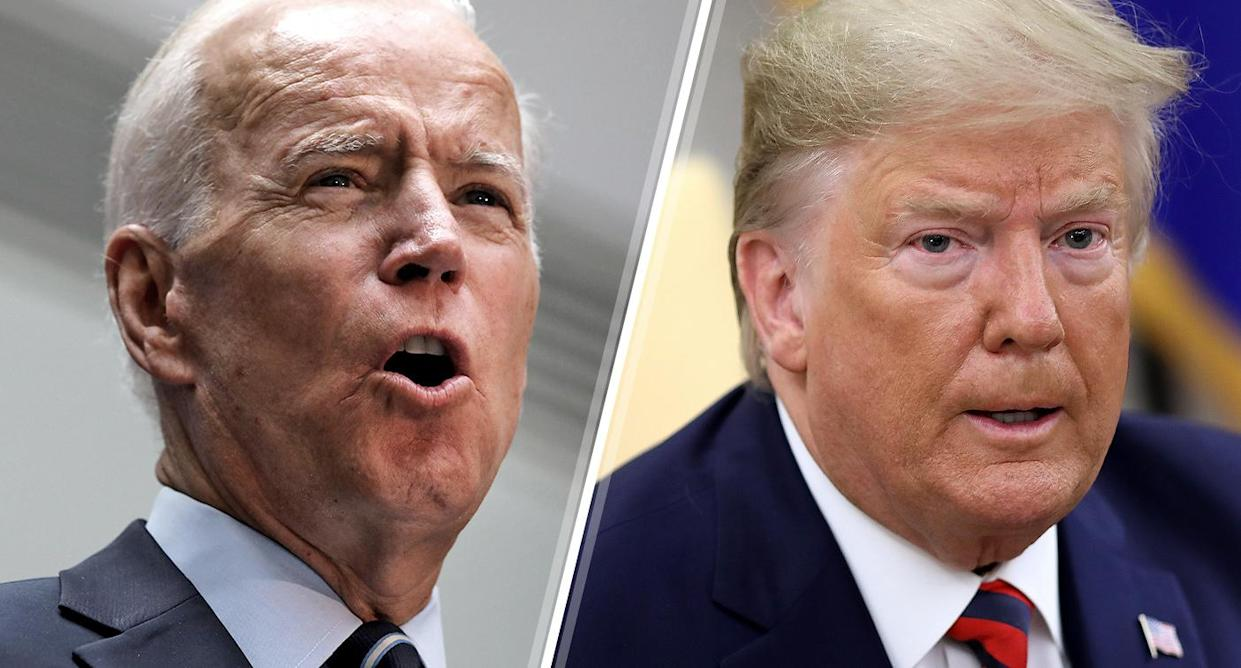 Former Vice President Joe Biden and President Trump. (Photos: Spencer Platt/Getty Images, Win McNamee/Getty Images)
