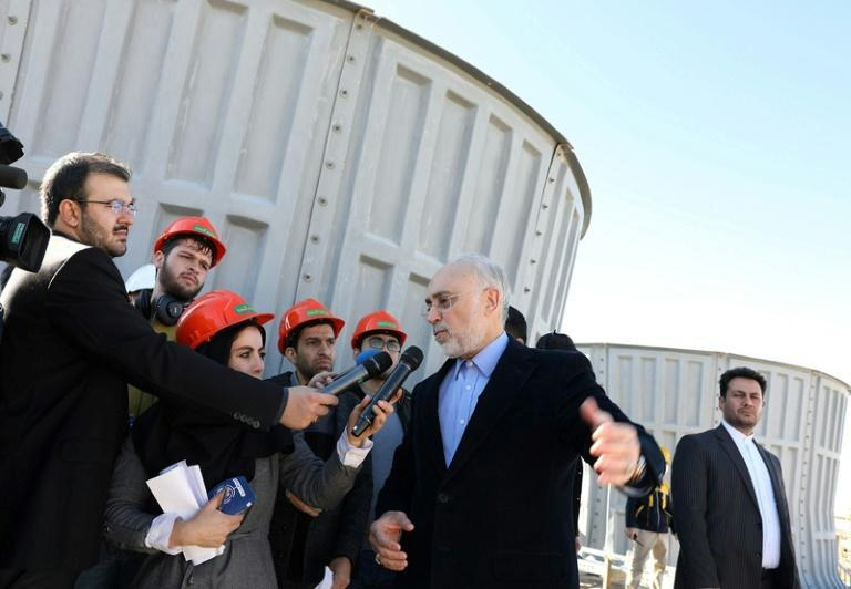 The head of Iran's Atomic Energy Organization, Ali Akbar Salehi, visits the Arak nuclear water reactor in December 2019 -- ending US sanction waivers means workto modify the reactor will end (AFP Photo/HO)