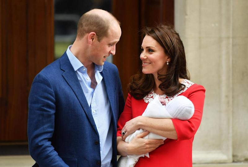 Newborn: The Duke and Duchess of Cambridge cradled their little Prince on the steps of the Lindo Wing on Monday (PA)