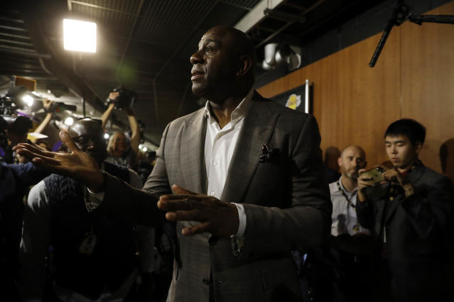 """Earvin Magic Johnson steps down as <a class=""""link rapid-noclick-resp"""" href=""""/nba/teams/la-lakers/"""" data-ylk=""""slk:Lakers"""">Lakers</a> president of basketball operations on April 9, 2019 at the Staples Center in Los Angeles, California. (Gary Coronado/Los Angeles Times/Getty Images)"""