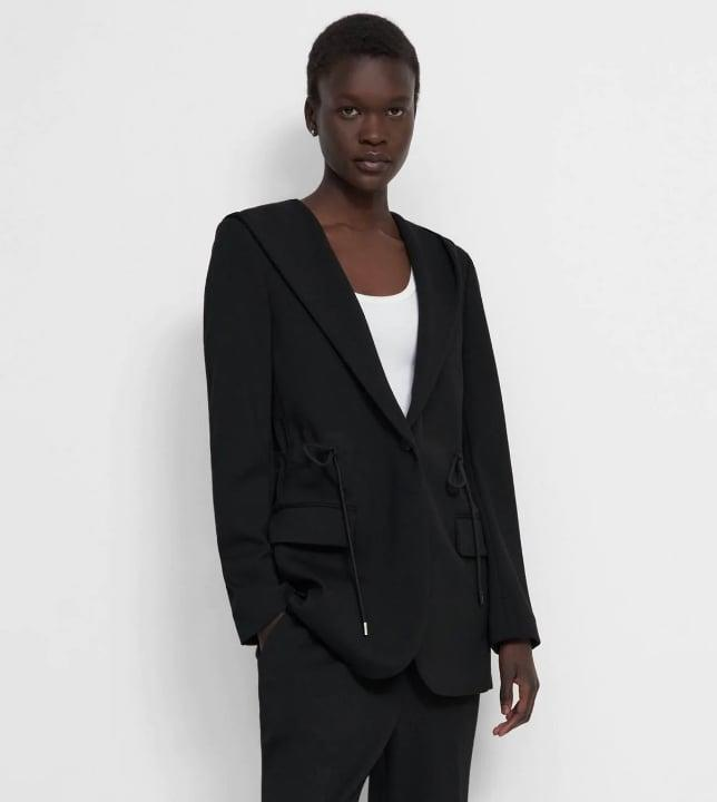 <p><span>Theory Hooded Drape Jacket In Double Knit Jersey</span> ($345)</p>