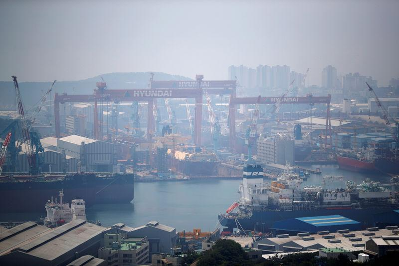 FILE PHOTO : Giant cranes of Hyundai Heavy Industries are seen in Ulsan