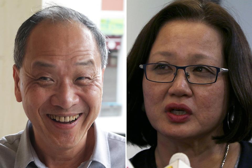 Workers' Party members Low Thia Khiang (left) and Sylvia Lim. (Yahoo News Singapore file photos)