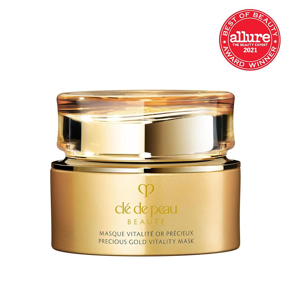 An indulgent infusion of 24-karat gold, ginseng extract, and amino acids, the luxurious <strong>Clé de Peau Beauté Precious Gold Vitality Mask</strong> enhances your skin's ability to restore its own moisture barrier — basically making it independently wealthy.