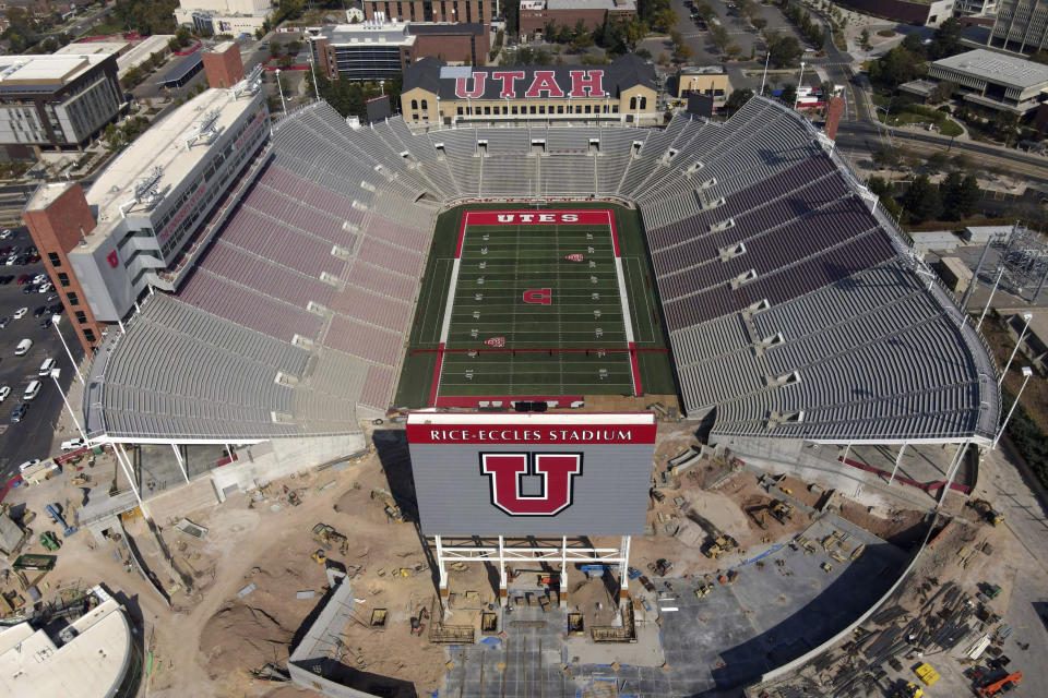 FILE - This Oct. 4, 2020 file drone photo, shows an aerial view of the University of Utah's Rice-Eccles Stadium in Salt Lake City. The season opener scheduled for Saturday between Utah and Arizona in Salt Lake City was canceled following a request from the Utes due to what the Pac-12 said were a number of COVID-19 cases among Utah players.(AP Photo/Julio Cortez. File)