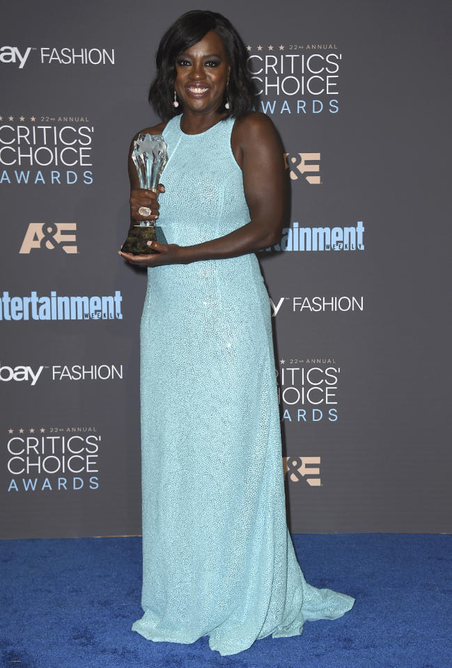 <p>The 'Fences' star kicked off award season with a Best Supporting Actress win at the Critics Choice awards on Dec. 11. (Photo: Jordan Strauss/Invision/AP) </p>