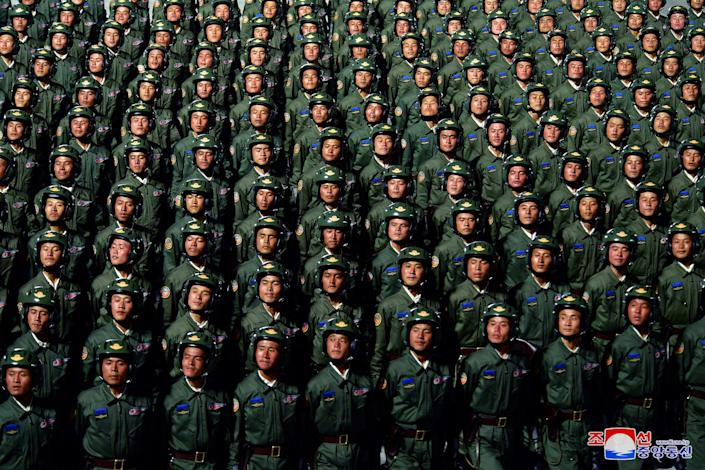 North Korea soldiers troops parade