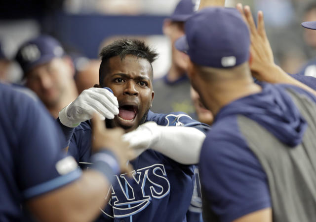 Tampa Bay Rays' Guillermo Heredia celebrates with teammates in the dugout after his solo home run off Seattle Mariners' Wade LeBlanc during the third inning of a baseball game Wednesday, Aug. 21, 2019, in St. Petersburg, Fla. (AP Photo/Chris O'Meara)