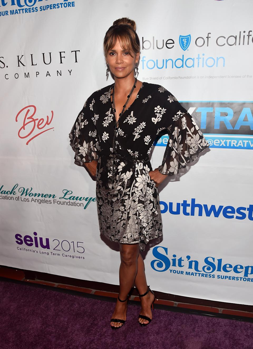 <p>On June 27, Halle Berry attended the 2018 Imagine Cocktail Party in a kaftan-style dress and nineties-inspired heels. <em>[Photo: Getty]</em> </p>