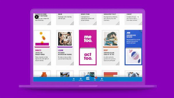 PHOTO: A  screen grab of the digital platform is seen in a promotional image from the 'me too.' Act Too campaign. (FCB/SIX)