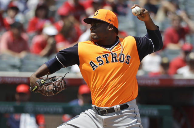 Houston Astros starting pitcher Framber Valdez throws to the Los Angeles Angels during the first inning of a baseball game Sunday, Aug. 26, 2018, in Anaheim, Calif. (AP Photo/Marcio Jose Sanchez)