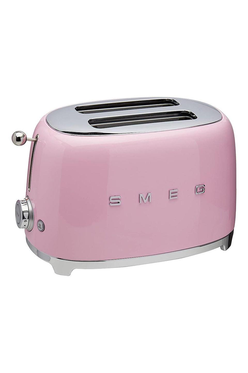 """<p><strong>Smeg</strong></p><p>www.westelm.com</p><p><strong>$169.95</strong></p><p><a href=""""https://go.redirectingat.com?id=74968X1596630&url=https%3A%2F%2Fwww.westelm.com%2Fproducts%2Fmrk-smeg-toaster-2-slice-e870%2F&sref=https%3A%2F%2Fwww.oprahdaily.com%2Flife%2Fg31400004%2Funique-mothers-day-gifts%2F"""" rel=""""nofollow noopener"""" target=""""_blank"""" data-ylk=""""slk:Shop Now"""" class=""""link rapid-noclick-resp"""">Shop Now</a></p><p>Here's a gift any home cook will consider toast-worthy: Not only will the retro-style charm of this sturdy toaster inspire her to embrace her inner June Cleaver, but it'll also ensure she always has perfectly crispy, gold brown bread and bagels, thanks to its variety of settings and extra-wide slots. </p>"""