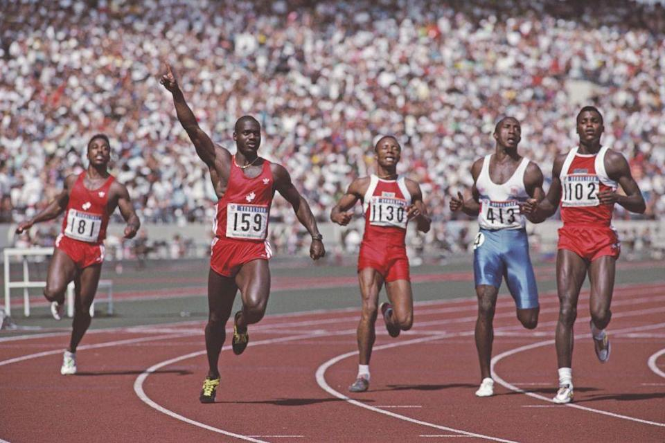 """<p>Canadian sprinter Ben Johnson set a new world record of 9.79 seconds in the 100 meter event to win gold in 1988. He was sent home, however, when <a href=""""https://www.bbc.com/sport/av/athletics/24276046"""" rel=""""nofollow noopener"""" target=""""_blank"""" data-ylk=""""slk:he tested positive for anabolic steroids and got his gold medal revoked"""" class=""""link rapid-noclick-resp"""">he tested positive for anabolic steroids and got his gold medal revoked</a>. </p>"""